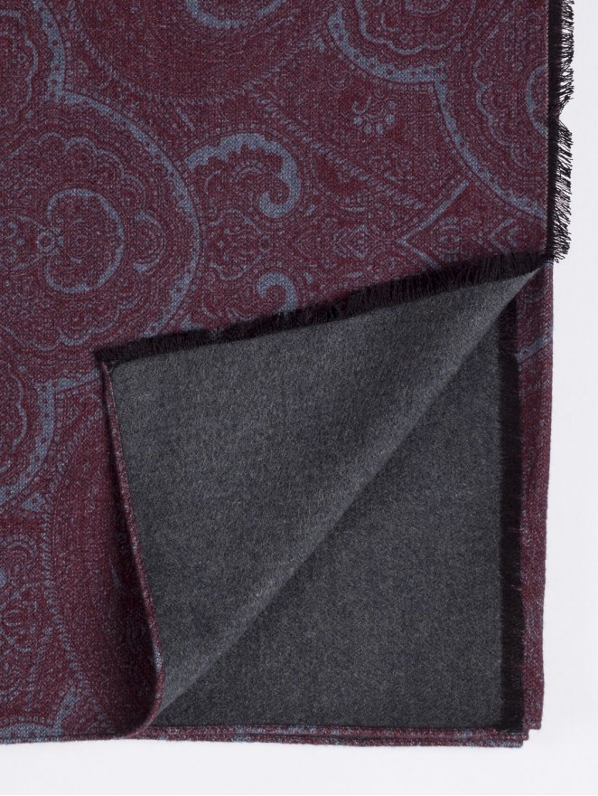 Silk brushed printed scarf double face with prune design - grey back