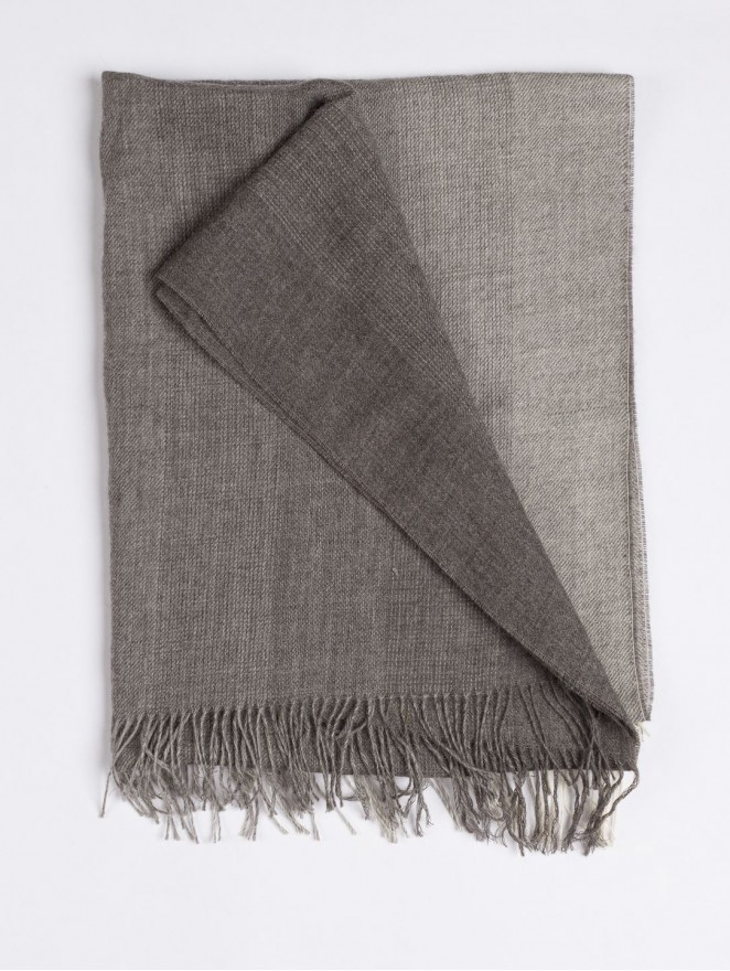 Grey striped baby alpaca scarf