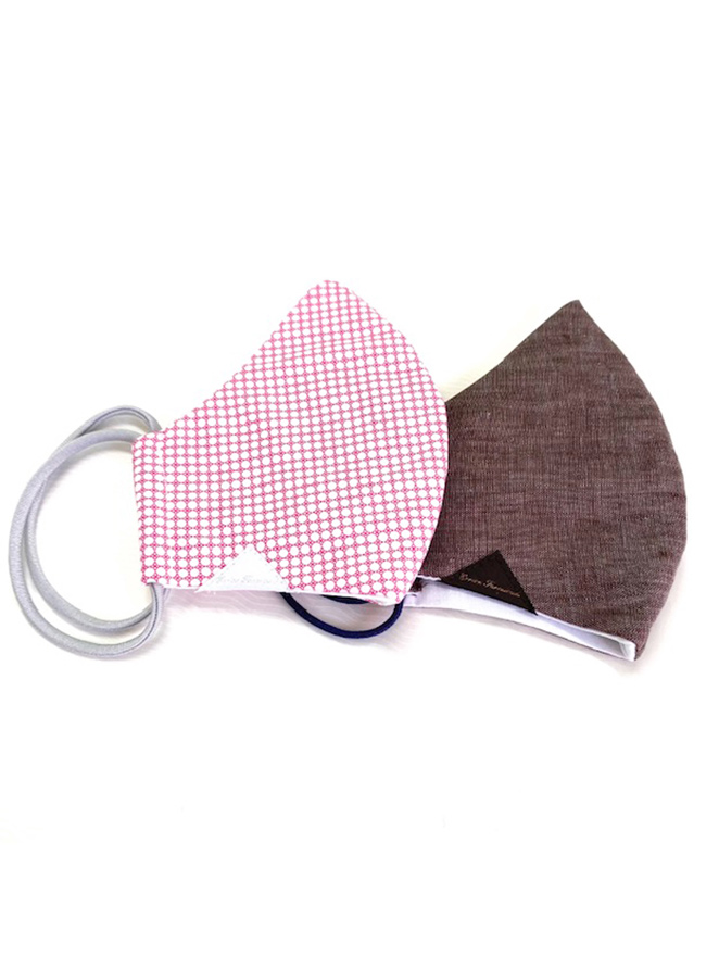 PINK AND BROWN TWO REUSABLE MASKS